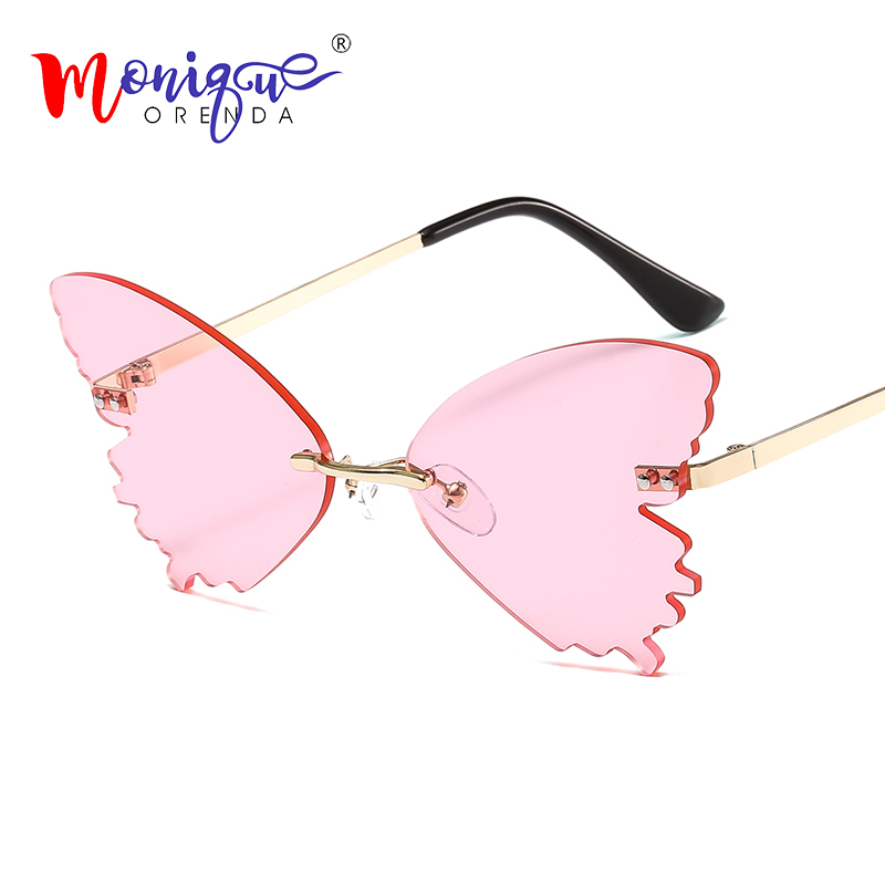 Luxury Shades Sunglasses Women Butterfly Mirror Lens Sun Glasses Color Vintage Metal Flame For Female Men Eyewear UV400 Oculos