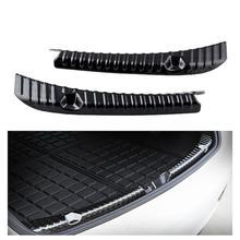 цена на 2pcs Car Bumper Protector Guard Exterior Rear Trunk Anti Scratch Trim Stainless Steel Cover Bumper Protector Guard Accessories