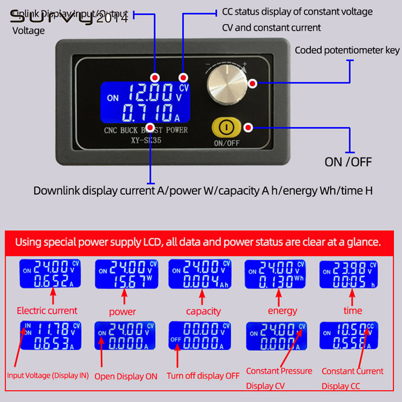 DC-DC Digital LCD Display Constant Voltage Current Step-down Programmable Control Power Supply Module Ammeter