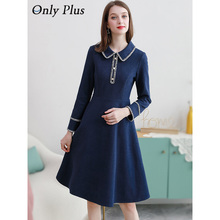 Only Plus Women Woolen Dress Winter Elegant Spliced lace Deep Blue Tweed Dresses