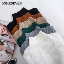 Warm Sweaters Pullovers Tops Turtleneck Bottoming Knitting Basic Minimalist Korean-Style