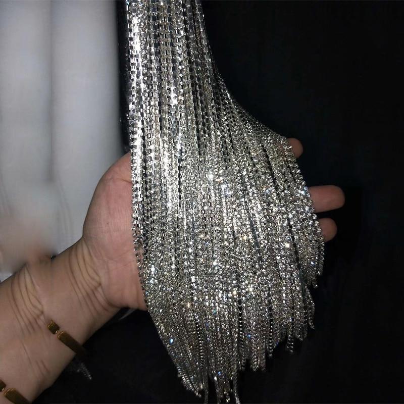 Costume-Accessories Chain Wig Rhinestone Dj Singer Rave Headdress Flashing Dance Silver