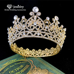 CC Tiaras and Crowns Hairband Baroque Style Big Crown Luxury Wedding Hair Accessories for Women Bridesmaids Cubic Zircon YQ01