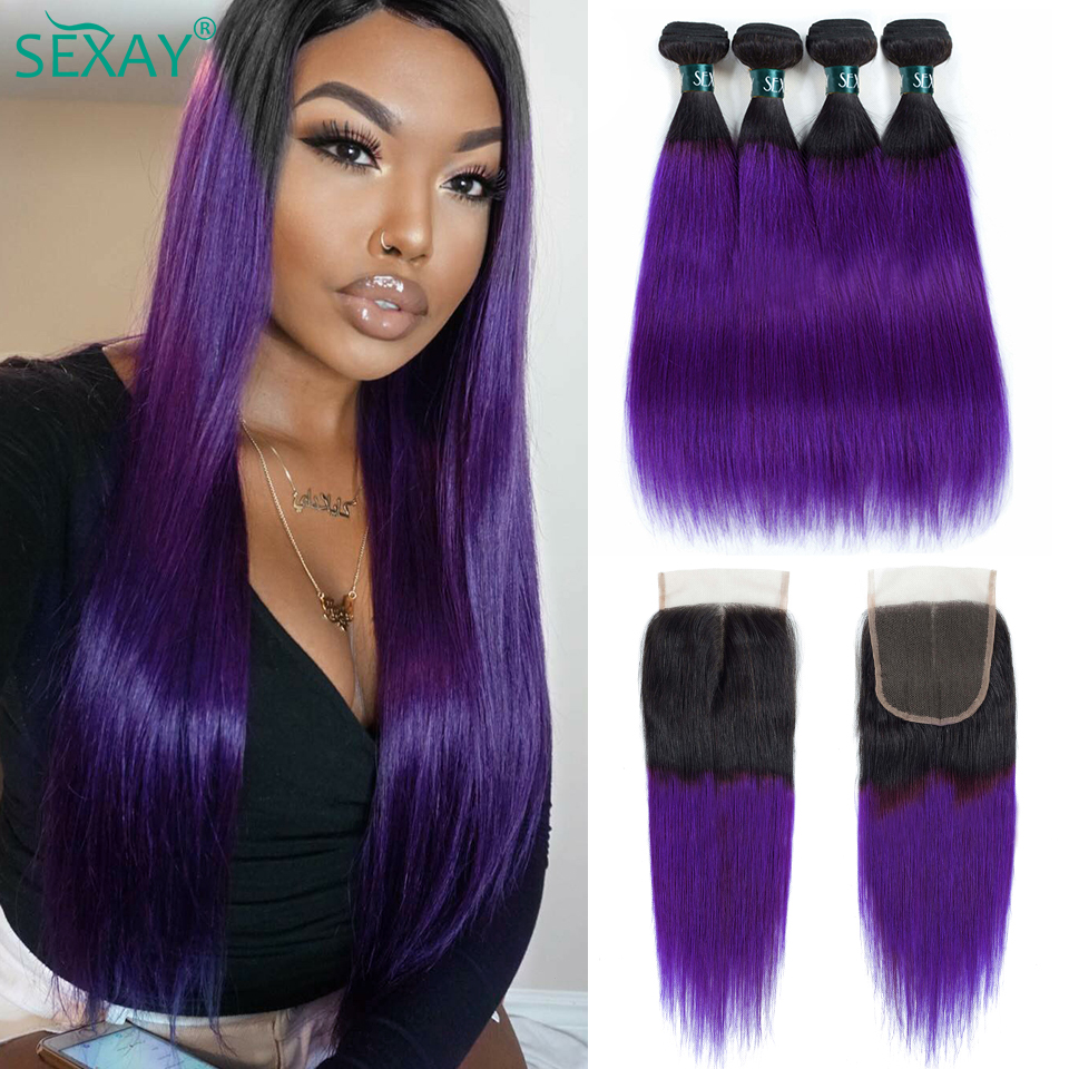 SEXAY Purple Hair 4 Bundles With Closure Ombre Straight Human Hair Extensions Brazilian Hair Weave Bundles With 4x4 Lace Closure