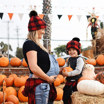 Red Plaid Pattern Hats for Mother Kids New Soft Woolen Casual Caps with Mini Hairball Winter Christm