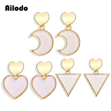 Ailodo Simple Fashion Geometric Earrings For Women Trendy Moon Heart Triangle Shape Drop Femme Bijoux Girls Gift LD346