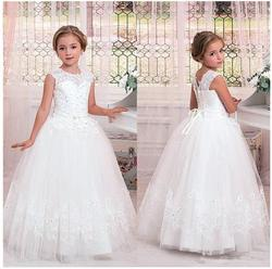 White Lace Beads Flower Girl Dress Sheer Neck Ball Gown Puffy Tulle Kids Birthday Dress First Communion Gown Custom Made