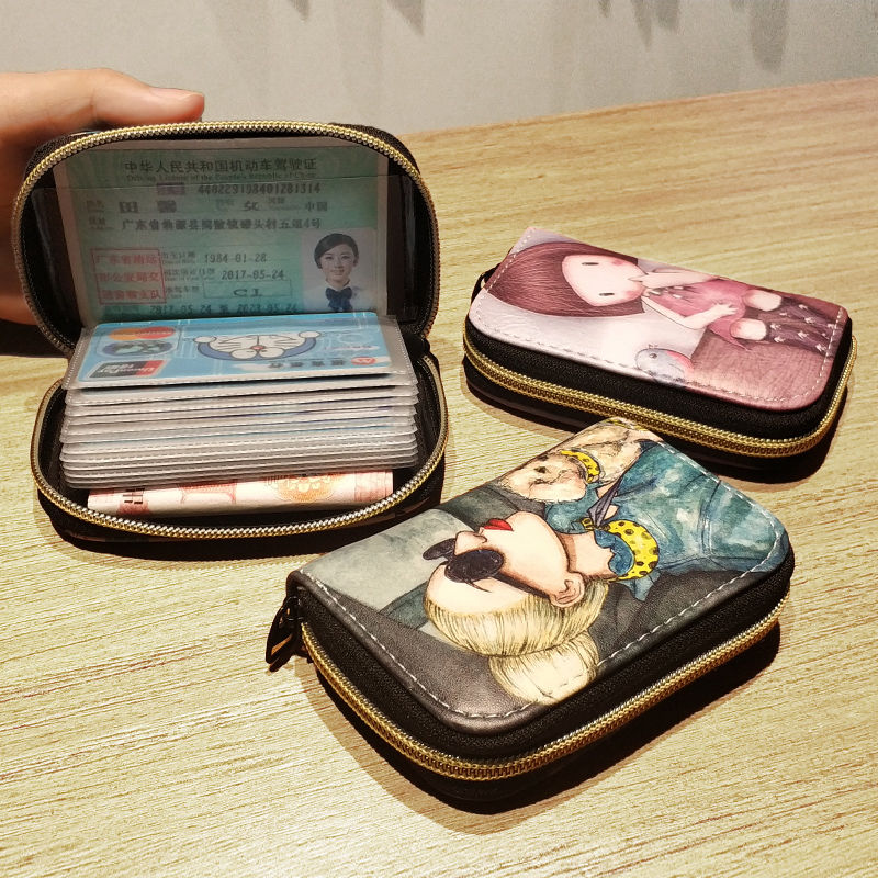 26 Slots Fashion  Card Holder  RFID Blocking Wallet Pu Leather High Quality Casual Zipper Women Card Wallet