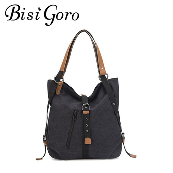 BISI GORO Fashion Travel Bags Black Canvas Large Capacity Women Shoulder Bag Messenger Bag Multifunctional Crossbody Bag 2020 women floral embroidery bag ladies black crossbody totes canvas three zipper travel beach phone coin bags shoulder messenger bag