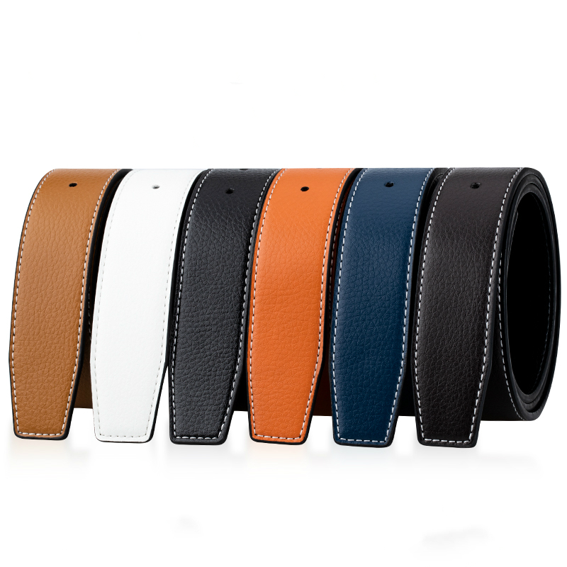 Luxury Brand Belts For Men High Quality Pin Buckle Male Strap Genuine Leather Waistband Ceinture Homme,No Buckle For H 38MM