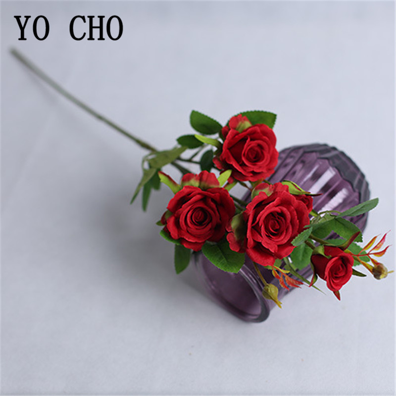 YO CHO 4 Branches Long Stem Artificial Flowers Silk Roses Branch White Pink Wedding Home Table Decor Fake Small Rose Flowers