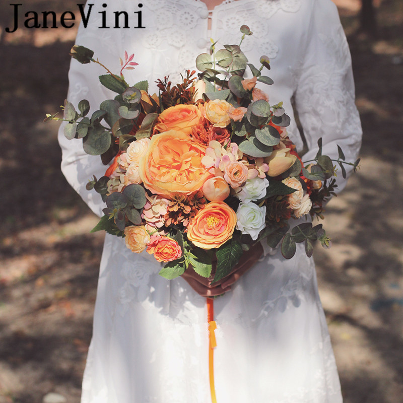 JaneVini 2019 Orange Wedding Flowers Bridal Bouquets Artificial Rose Articielle Bridesmaid Flower Bouquet Peony Bouquet Da Sposa
