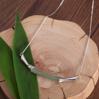 CMajor Sterling Silver Jewelry S925 Chinese classical style Bamboo leaves Bamboo festival Nephrite Necklace for Women