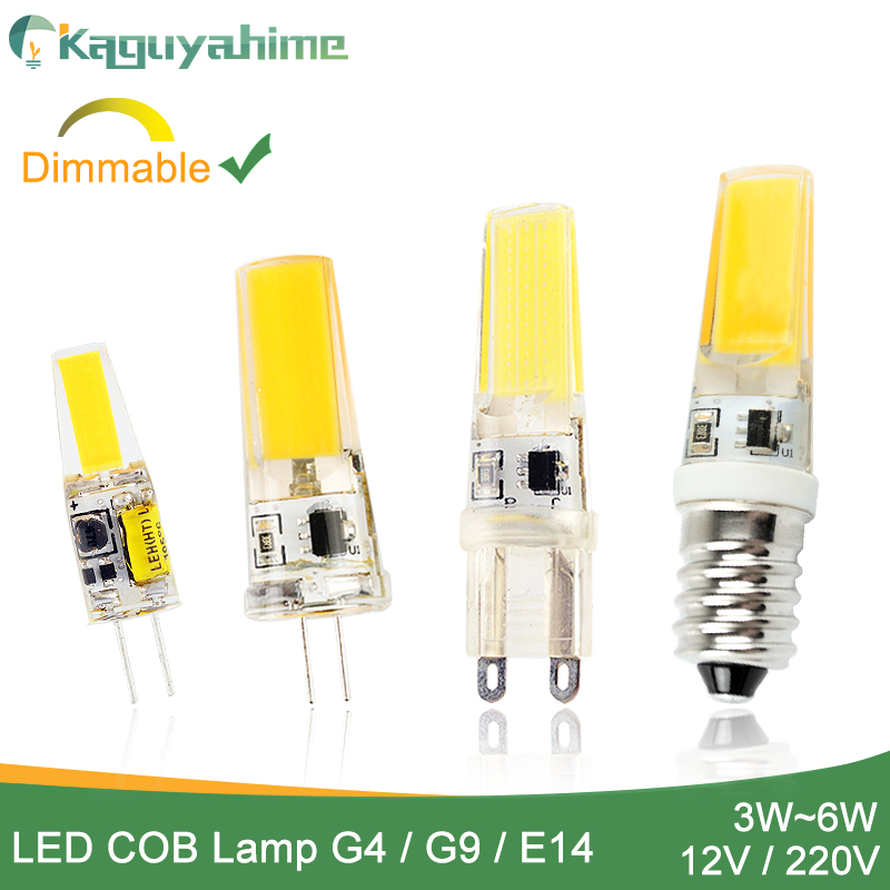 Kaguyahime Korea COB Dimmable LED G9 G4 E14 Lamp Bulb AC/DC 12V 220V 3W 5W 6W LED G4 G9 Lamp Replace Halogen Lampada Bombillas