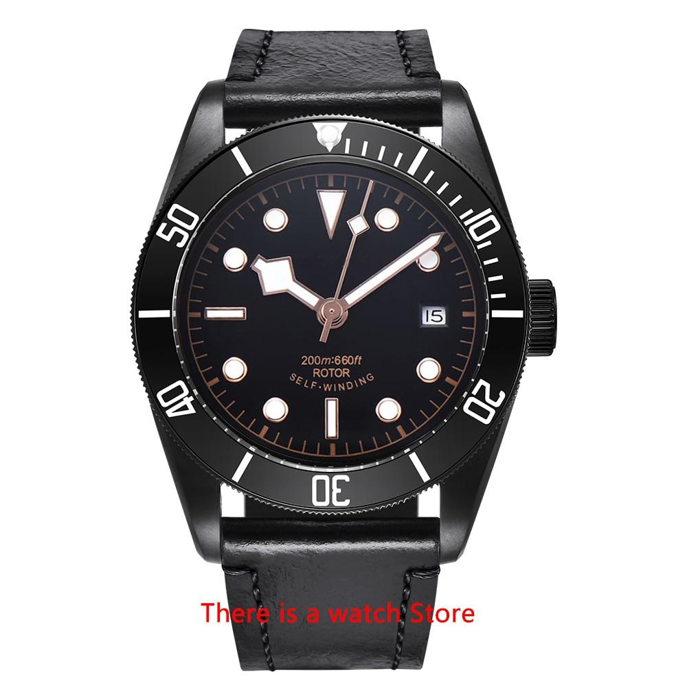 Corgeut 41mm Automatic Watch Men Military Black Dial Wristwatch Leather Strap Luminous Waterproof Sport Swim Mechanical Watch 10