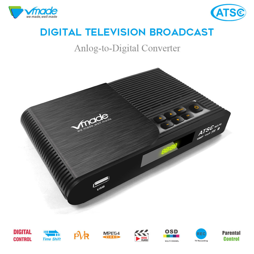 Vmade Full HD 1080P Digital TV Broadcast Receiver DVB ATSC F6 Support Youtube Dolby AC3 H.264 MPEG4 For USA/Canada/Korea