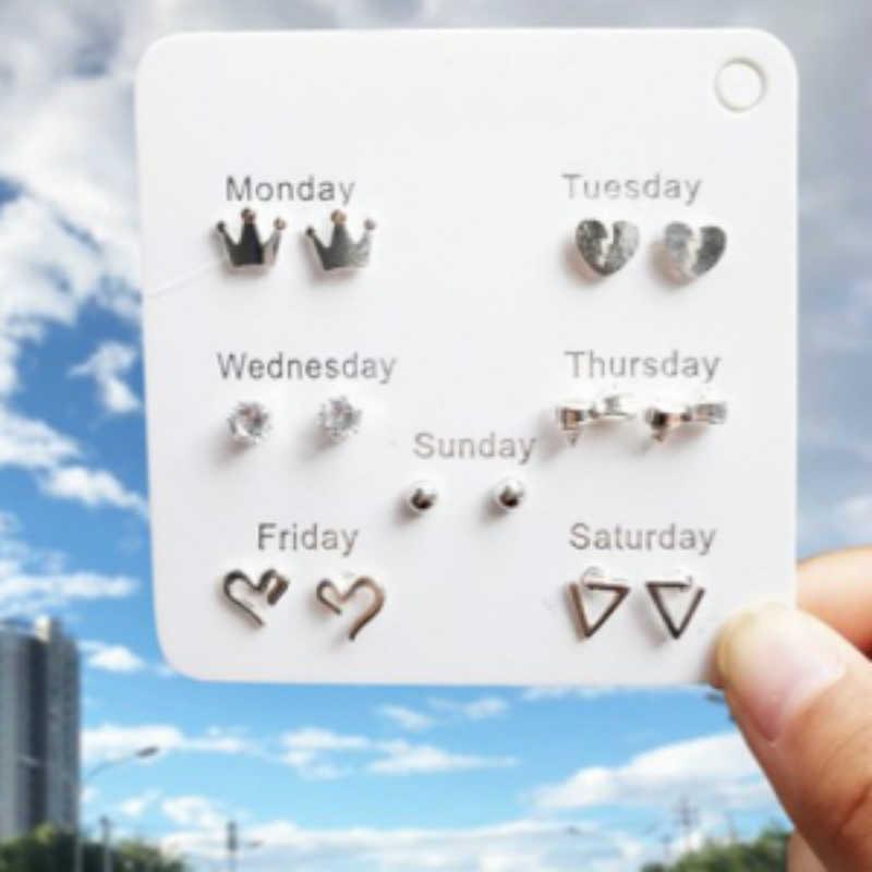 7 יח'\סט עגילי תכשיטים חמוד אהבה משולש עגילי כתר עגילים לנשים יוקרה כסף עגילים סיטונאי
