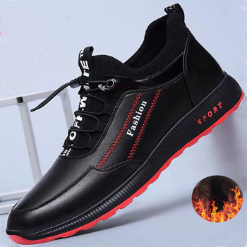 2020 Fashion leather Shoes Men Casual Shoes winter Plus velvet to keep warm black Comfortbale Sneakers Men Flats Shoes Big Size