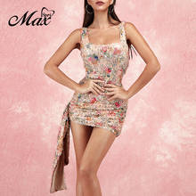 Max Spri 2019 Summer New Sexy Straps Sleeveless Floral Sequins Sparkling Ruched Women Party Outfit Bodycon Mini Dress