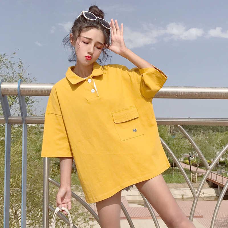 I wiosenne letnie nowe damskie guzik do koszulki luźna krótka damska koszulka puchowa kołnierzyk damski Plus rozmiar koszulka rekreacyjna C 65