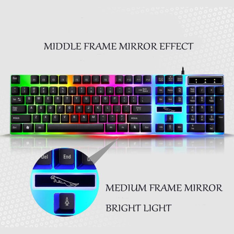 USB Charging Light Keyboard & Mouse Kit Rainbow LED Gaming Equipment For PS4 X1