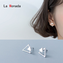 La Monada 925 Sterling Silver Stud Earrings For Women Hollow Triangle Trendy Jewelry Accessories Minimalist