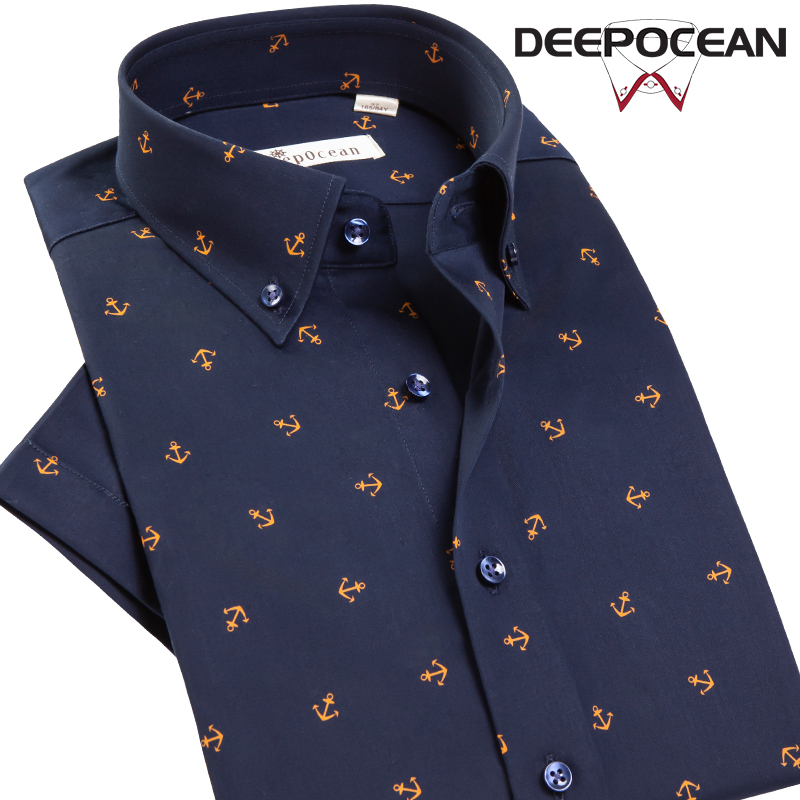 DEEPOCEAN Shirt Men's Short Sleeve Shirt Printing Mercerized Cotton Business Casual Youth Korean Slim