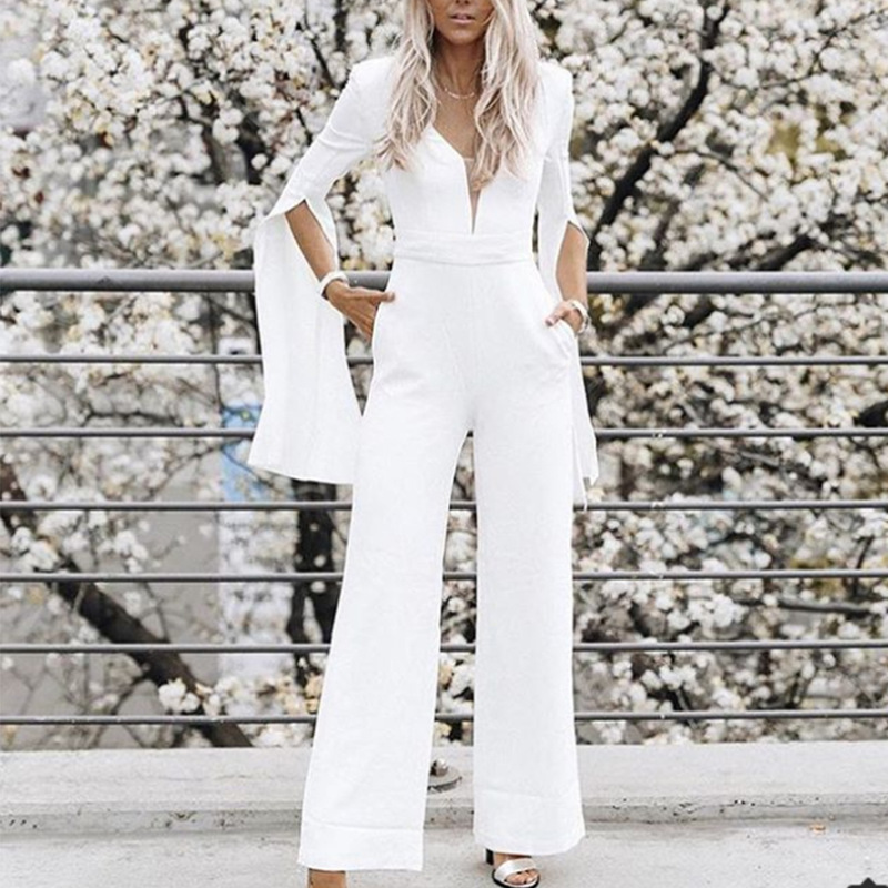 Rompers Womens Jumpsuit Plus Size Boho White Overalls Clothing Formal Elegant Salopette Femme Long Pants For Women 2019 Macacao