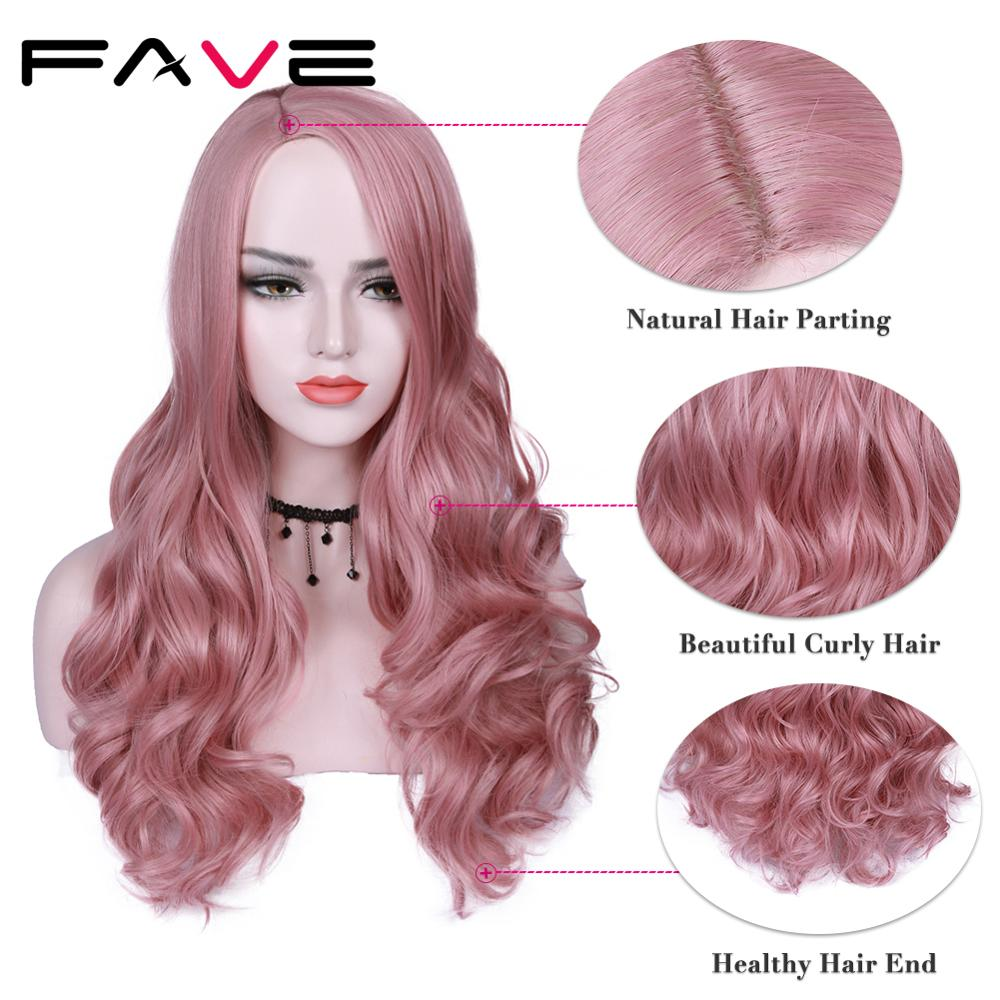 FAVE Premium Long Synthetic Wig Body Wave Ombre Color Side Part Sakura Pink Purple With Bangs Party Cosplay For Women Wigs