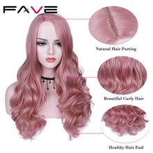 FAVE Premium Long Synthetic Wig Body Wave Ombre Color Side Part Sakura Pink Purple With Bangs Party Cosplay For Women Hair