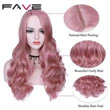 FAVE perruque synthétique longue vague de couleur ombrée avec raie sur le côté Sakura rose violet avec frange pour femmes