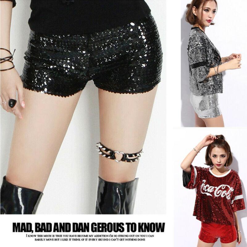 Sexy Dance Shorts Shiny Mini Sequined Shorts Hip-Hop Night Club Jazz Dancer Shorts Sequins Details Pole Dancing Clubwear Short