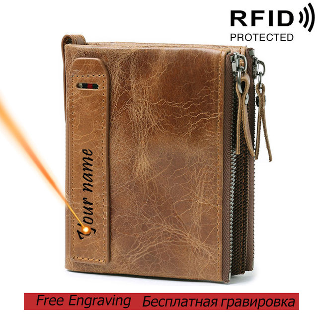 RFID Protected Free Engraving Genuine Leather Men Wallet Card Holders Wallets Double Zippers Coin Wallet Men Leather Short Purse