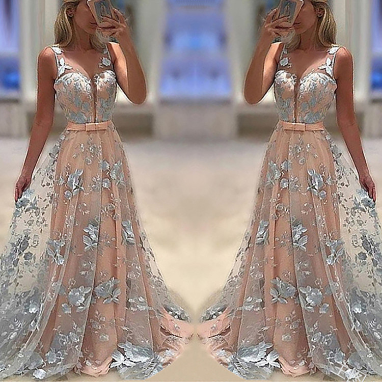 BGW Real Pictures Sexy V Neck Sleeveless Appliques Long Prom Dress With Bow Tie Sash Floor Length Party Dress Robe De Soire