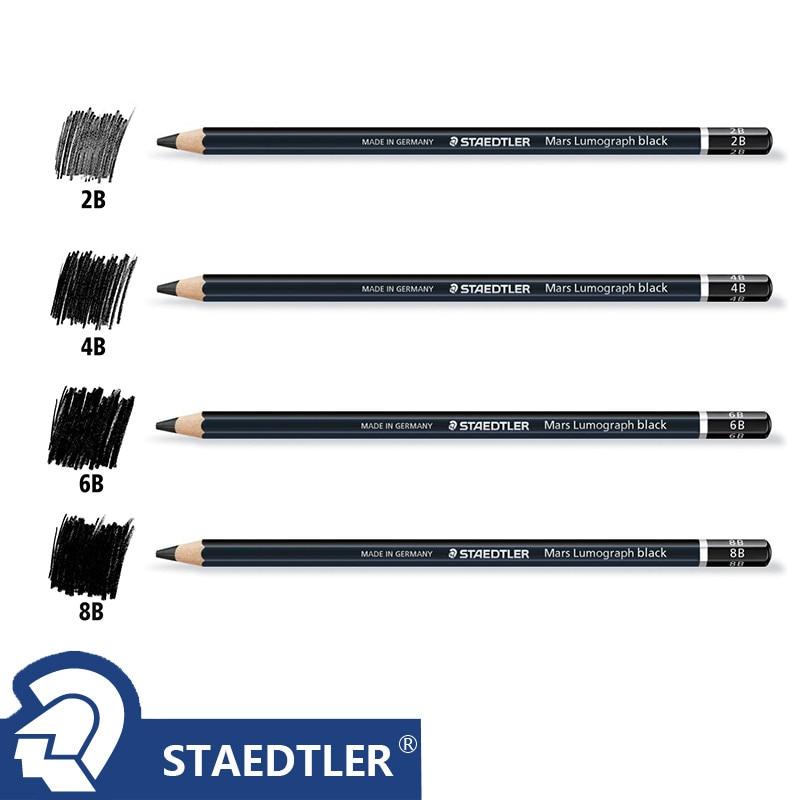 1 pc Staedtler Ergosoft Coloring Pencil Black Barrel Staedtler Mars Lumograph Drawing Sketching Pencils 2B 4B 6B 8B 4 Degrees(China)