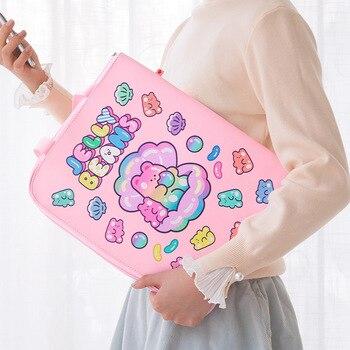 A4 File Folder Cute Bear Document Organizer Holder Korean 13 Inches Laptop Fichario For Gilrs Kawaii Information Bag Stationery