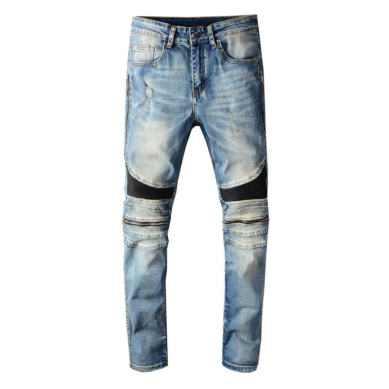 2020 Newly Designer Fashion Men Jeans Blue Slim Fit Zipper Spliced Punk Pants Hip Hop Ripped Jeans Men Streetwear Biker Jeans