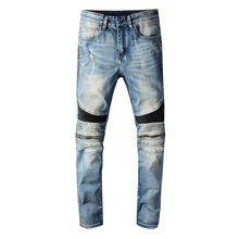 2020 Newly Designer Fashion Men Jeans Blue Slim Fit Zipper Spliced Punk Pants Hi