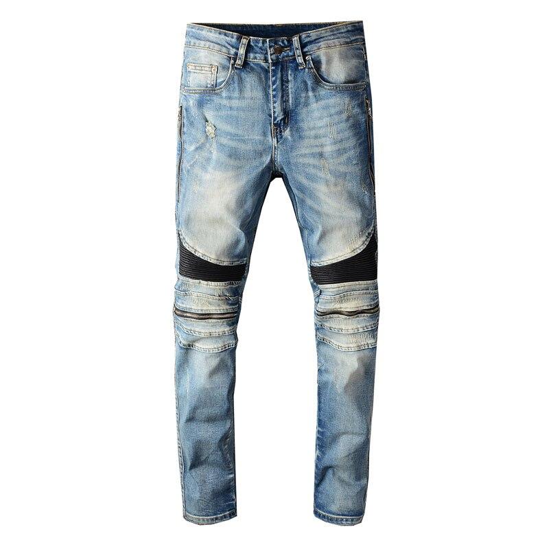 2020 Newly Designer Fashion Men Jeans Blue Slim Fit Zipper Spliced Punk Pants Hip Hop Ripped Jeans Men Streetwear Biker Jeans