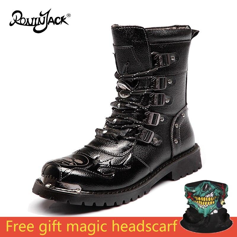Bottes de Combat hommes haut militaire hommes armée bottes en métal à lacets mâle moto Punk bottes chaussures pour hommes Rock Work bottes