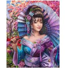 5D DIY Diamond Embroidery Full Display cherry blossoms Painting Square/Round Rhinestones Art Japanese girl