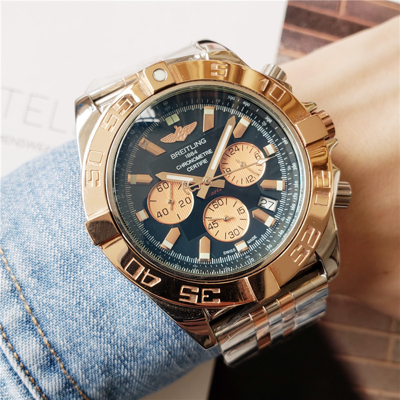 NEW Breitling Luxury Brand Mechanical Wristwatch Mens Watches Quartz Watch with Stainless Steel Strap relojes hombre automatic