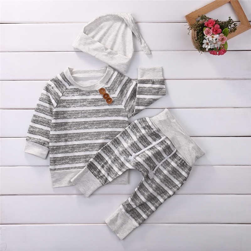 2019 חורף סט תינוק יילוד תינוק ילד ילדה בגדי פס סוודר חולצות מכנסיים כובע בגדי 3PCS תלבושות סט vetement enfant fille