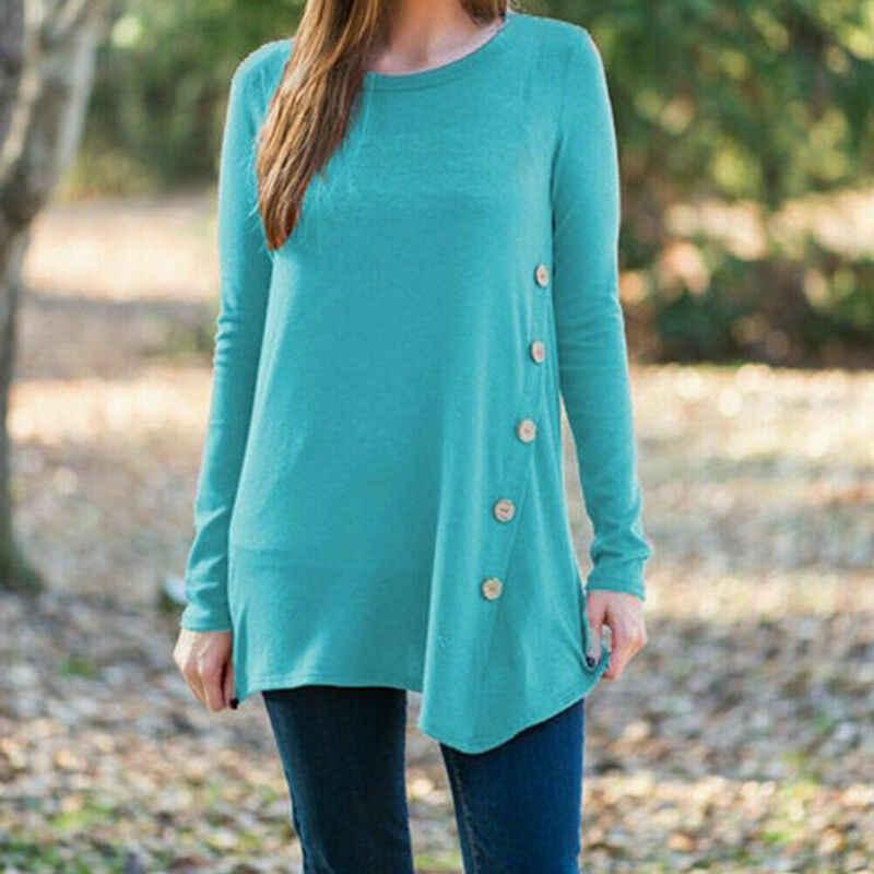 Women Long Sleeve Casual T-shirt Ladies Loose Top Blouse Bottom Home Dress US