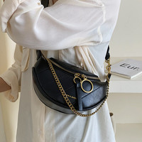 Women's waist bag Retro fashion pu leather women bag female Korean wild chain female fanny pack black