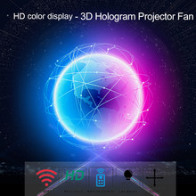 3D Hologramm Projektor Fan WiFi Holographische Licht Display-Player 4 Klingen Design 1022 stücke Led Perlen mit Fernbedienung Halterung(China)