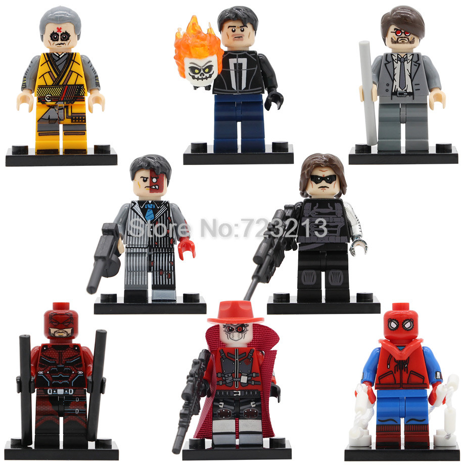 Spiderman PG8069 Figure Kaecilius Winter Soldier Super Hero Homecoming Dare Matt Ghost Rider Building Blocks Toys Legoing