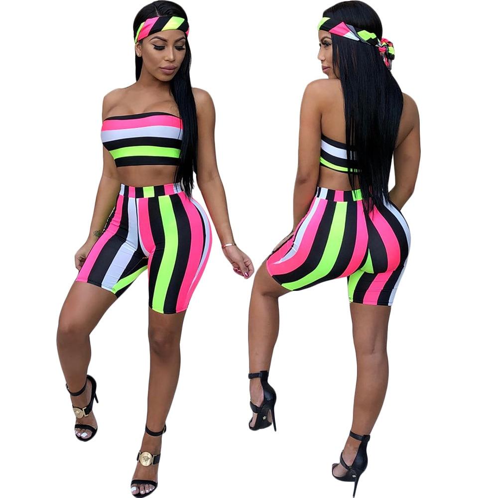 HAOYUAN Striped Sexy 3 Piece Set Women Festival Head Scarf+Crop Tops+Biker Shorts Suits Boho Summer Beach Outfits Tracksuit