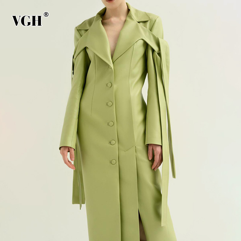VGH Korean Pu   Leather   Women's Coat V Neck Long Sleeve High Waist Large Size Coats Female 2019 Autumn Winter Fashion New Clothes