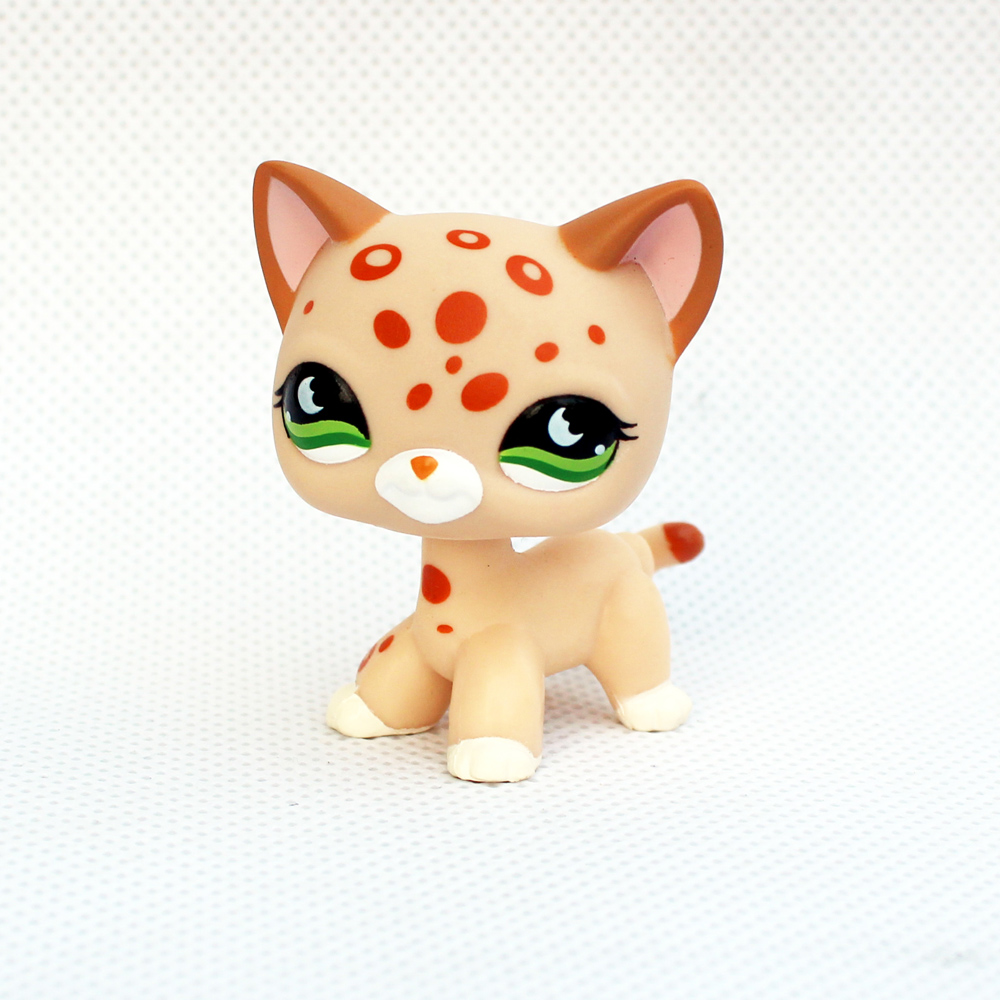 ON SALE Real rare pet shop toys standing short hair cat #852 yellow Tan Spotted Leopard kitty old original animal toys image